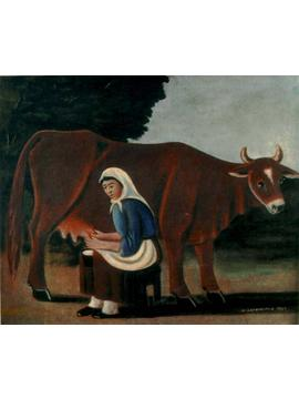 Normal_pirosmani._woman_milking_a_cow